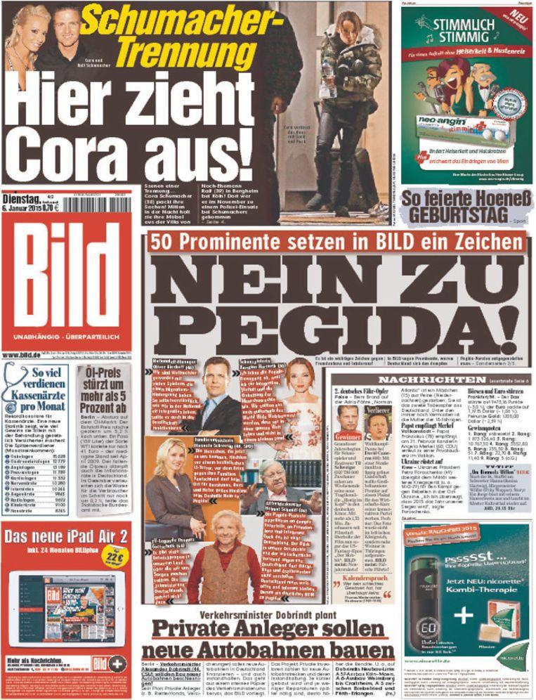 Voorpagina van Bild dinsdag. Prominenten keren zich tegen Pegida. Beeld .