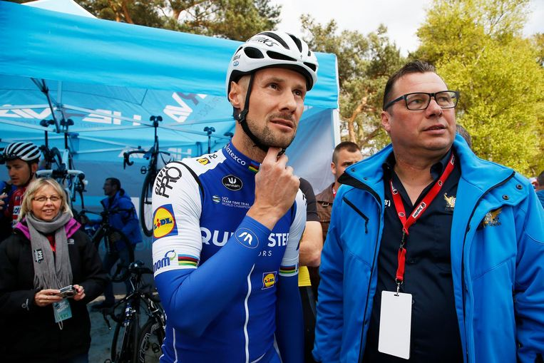 Tom Boonen en Wilfried Peeters eind april in domein Zilvermeer naar aanleiding van Toms afscheidswedstrijd 'Tom says thanks'.