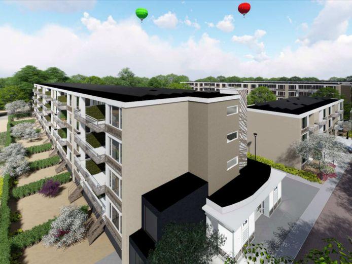 Een impressie van de flats in de Wageningse wijk De Nude na het grote onderhoud.