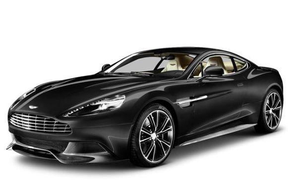 Een 'carbon black' Aston Martin Vanquish.