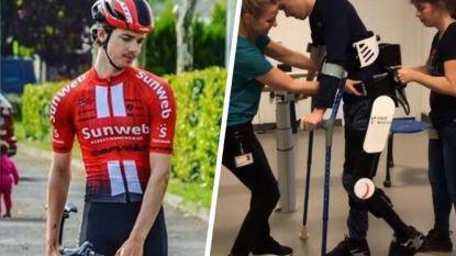 Verlamde renner Edo Maas (19) zet na zwaar ongeval opnieuw eerste stapjes dankzij bionisch pak