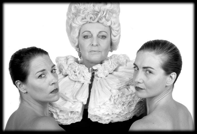 De rollen in het stuk worden gespeeld door Mieke Bouve, Katrijn Govaert en Heidi De Grauwe.