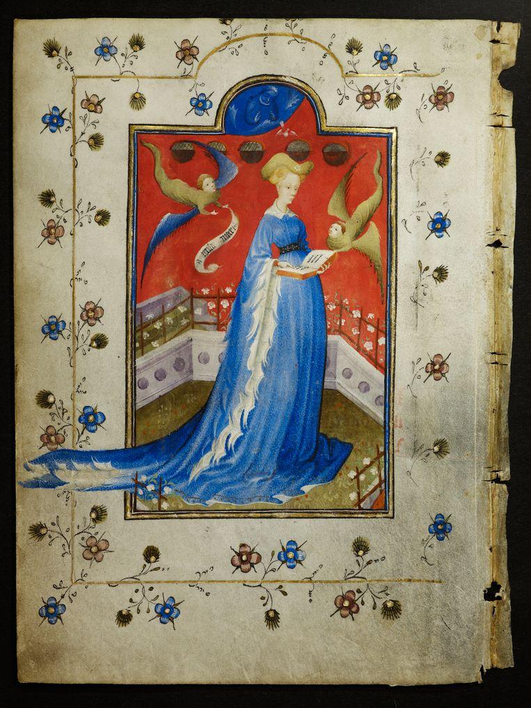 Geïdealiseerd portret van hertogin Maria in haar gebedenboek; de engel linksboven houdt een banderol vast met daarop de tekst 'O milde Marie'. De tweede engel raakt het boek in haar handen aan: de juiste weg is die van gebed. Beeld Staatsbibliothek zu Berlin
