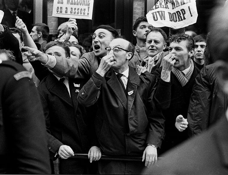 Mars op Brussel, 1962. Beeld null