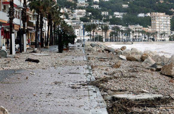 Ook in het stadje Javea in de provincie Alicante is er veel schade.