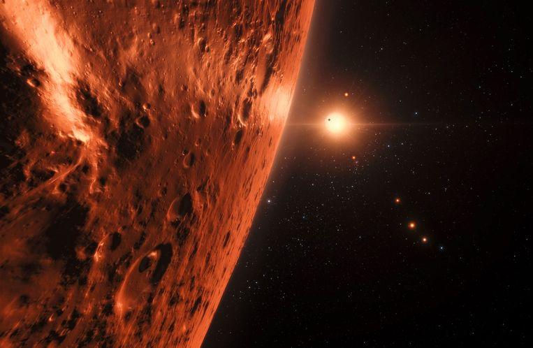 Een impressie van TRAPPIST-1.