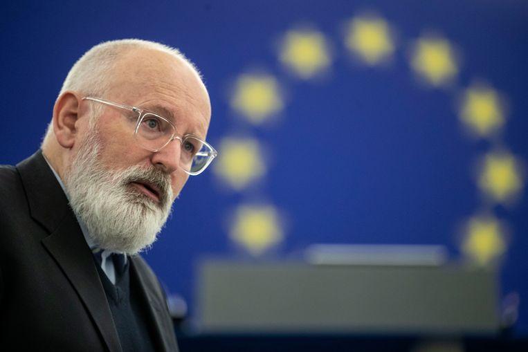 Frans Timmermans, eerste vice-voorzitter van de Europese Commissie: 'Het zou vanzelf moeten spreken dat we niemand in de Europese Unie een maatschappelijke en economische apocalyps laten ondergaan.' Beeld AP