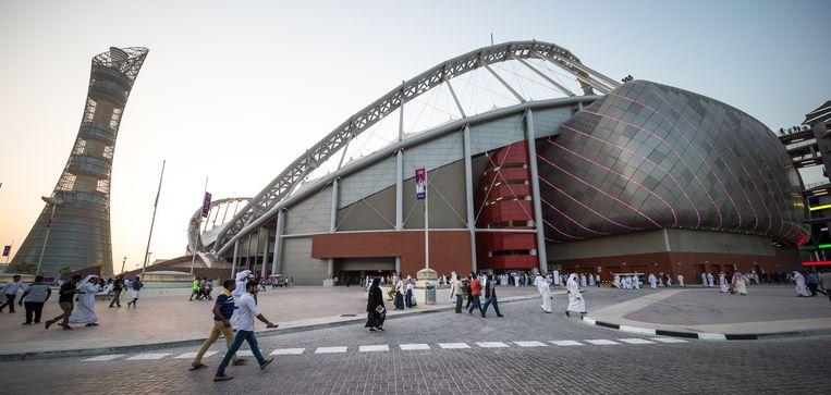 Het Khalifa International Stadium, waar wedstrijden van het WK 2022 in Qatar gespeeld zullen worden.