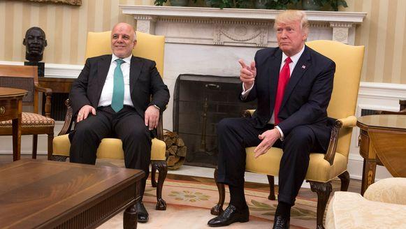De Iraakse president Haider al-Abadi in het Witte Huis met de Amerikaanse president Donald Trump.