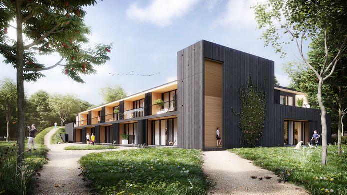 De duurzame appartementen op De Kleine Aarde worden geheel uit hout opgetrokken.