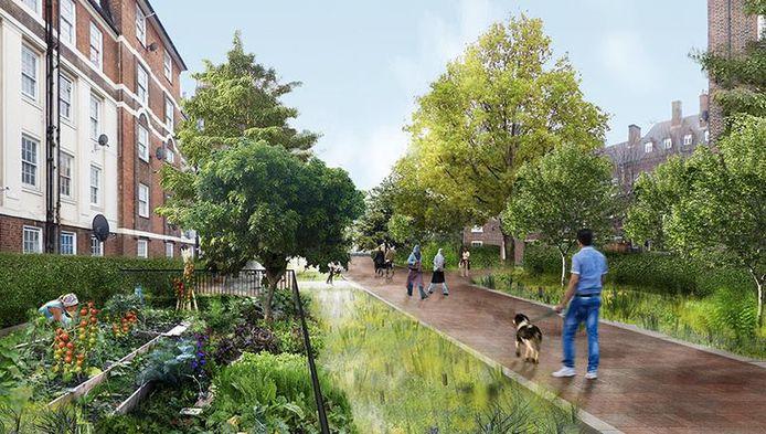 Simulatiebeeld van hoe een tuinstraat eruit zou kunnen zien.