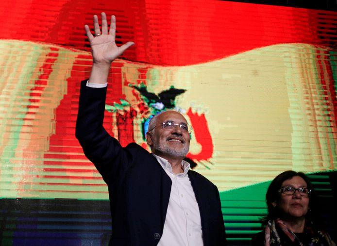 De Boliviaanse presidentskandidaat Carlos Mesa in de Boliviaanse hoofdstad La Paz.