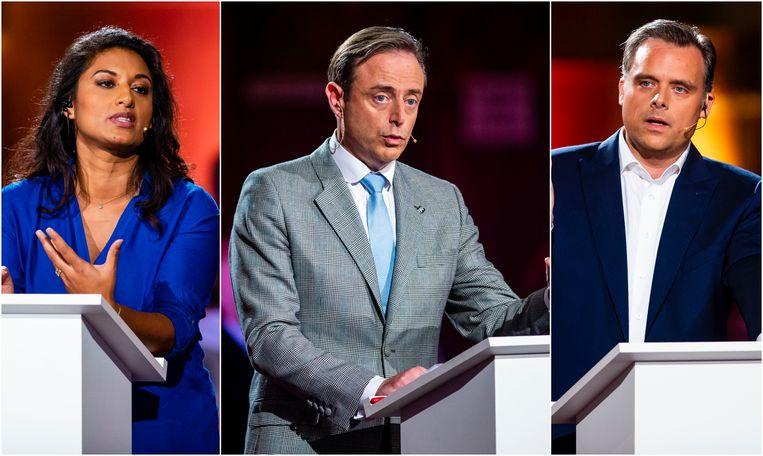 Jinnih Beels (sp.a), Bart De Wever (N-VA) en Philippe De Backer (Open Vld).