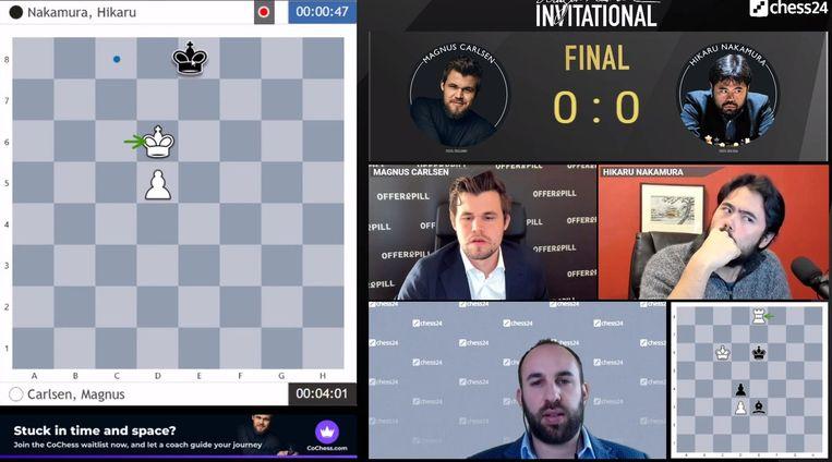 Topschakers spelen tegen elkaar op internet op uitnodiging van Magnus Carlsen.   Beeld