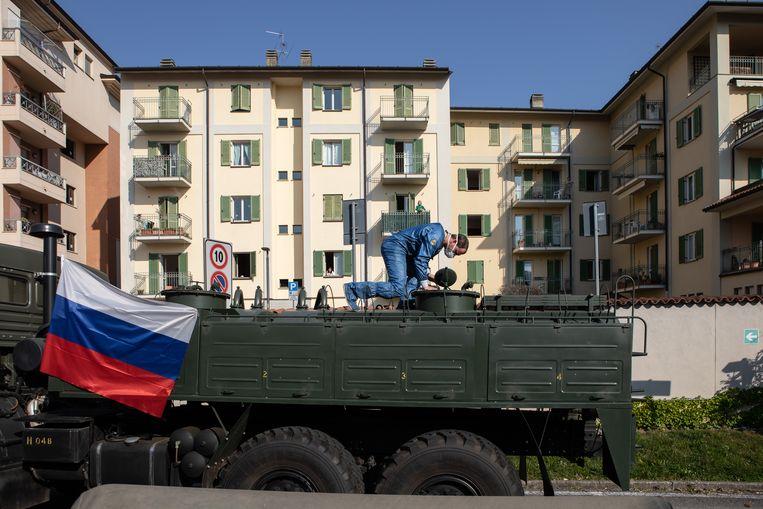 Het Russische leger voorzag eerder de Italianen al van medische ondersteuning. Beeld Getty Images