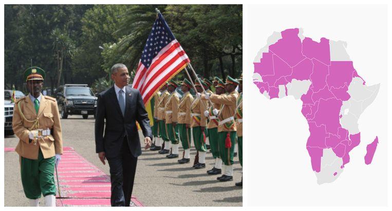 Obama tijdens zijn bezoek aan Ethiopië in 2015. De gekleurde landen op de kaart ontvingen nog nooit een Amerikaanse president.