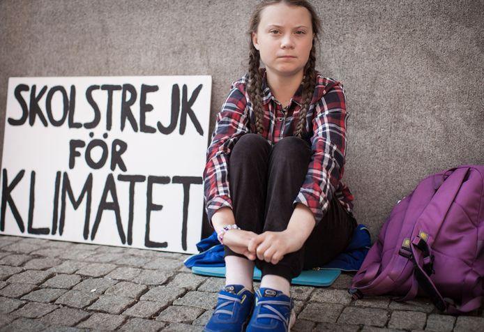 Augustus 2018. Greta Thunberg haalt de wereldpers met haar staking bij het Zweedse parlement voor een beter milieu.