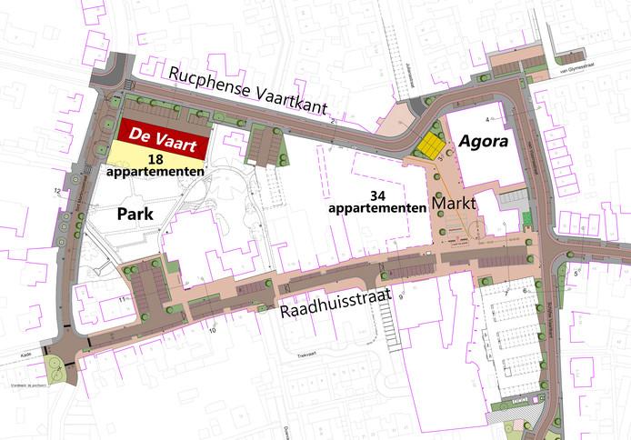 Het oorspronkelijk ontwerp voor de herinrichting van het centrum van Rucphen.