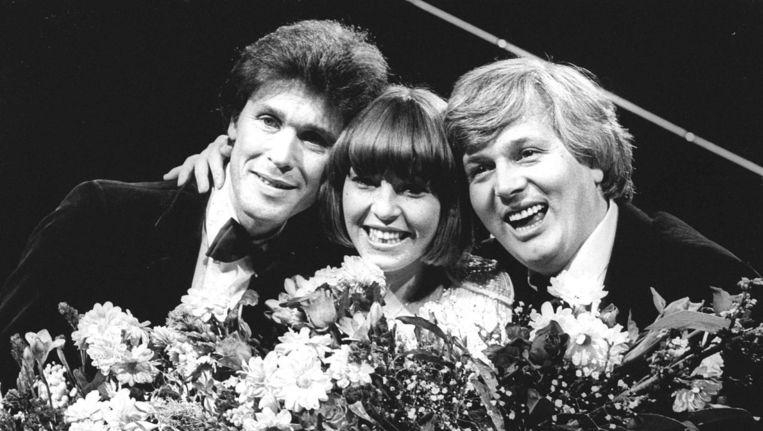 Cees de Wit, Linda Williams en Bart van de Laar. Van der Laar schreef het songfestivalliedje voor Williams Beeld ANP