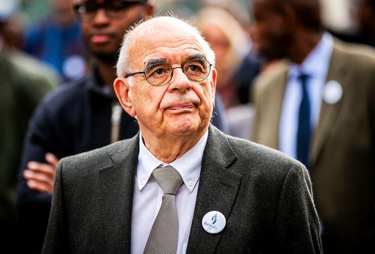 Oud-minister Jan Pronk tijdens een herdenking van de genocide in Rwanda, 2019. Beeld Remko de Waal / ANP