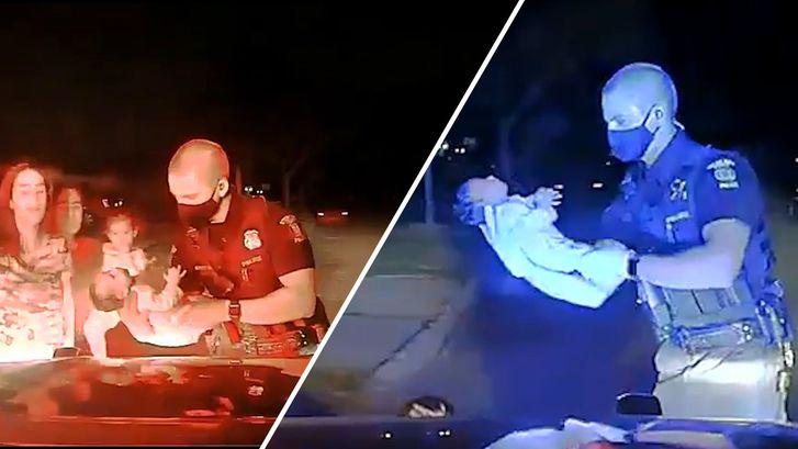 Agent redt het leven van baby die bijna stikt