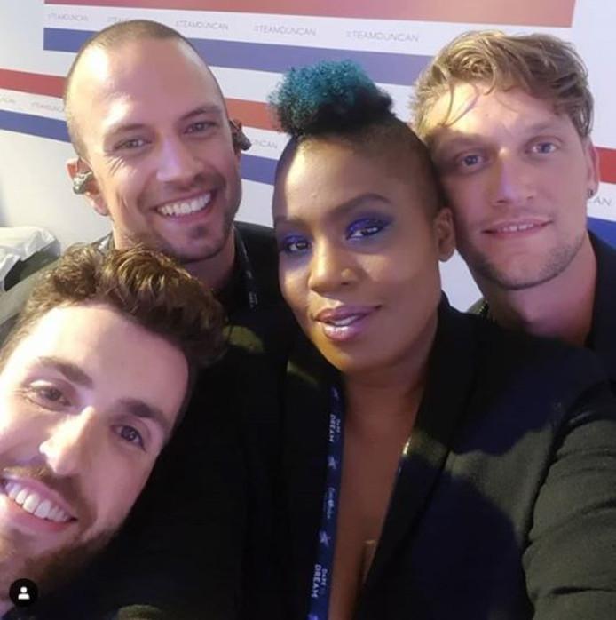 Duncan werd gesteund door Kris, Sarina en Marcel.