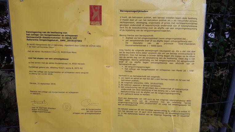 De sloopvergunning werd op 12 september goedgekeurd