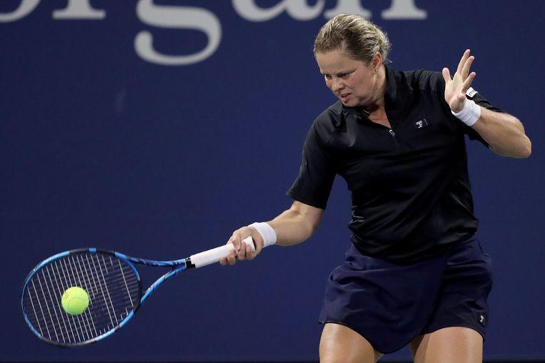 Kim Clijsters tijdens de eerste ronde van de US Open. ON USE ONLY == Beeld AFP