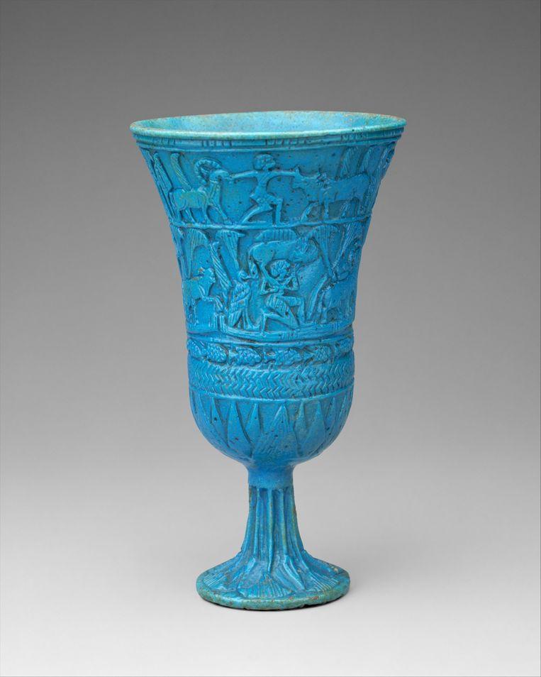Lotusvormige kelk van blauwe faience, 945-664 voor Christus, Egypte, Metropolitan Museum NY Beeld Collectie Metropolitain Museum New York