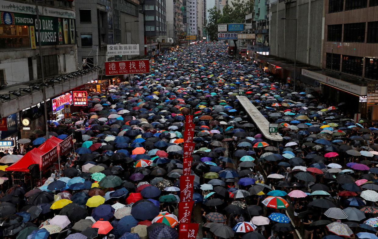 Demonstranten in Hongkong op 18 augustus.