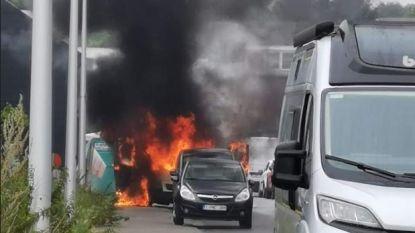 Bestelwagen vat plotseling vuur in Edegem