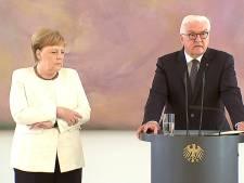 Angela Merkel opnieuw trillend te zien op tv