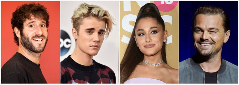 Vlnr: rapper-komiek Lil Dicky, Justin Bieber, Ariana grande en acteur Leonardo DiCaprio.