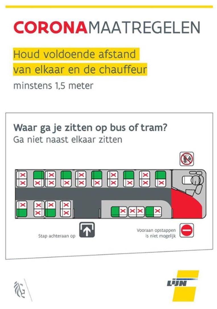 instructies op de bus De Lijn