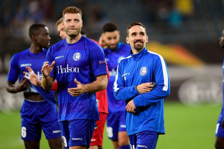 Vreugde bij Depoitre en Kums na de 3-2-zege van AA Gent tegen Saint-Etienne.