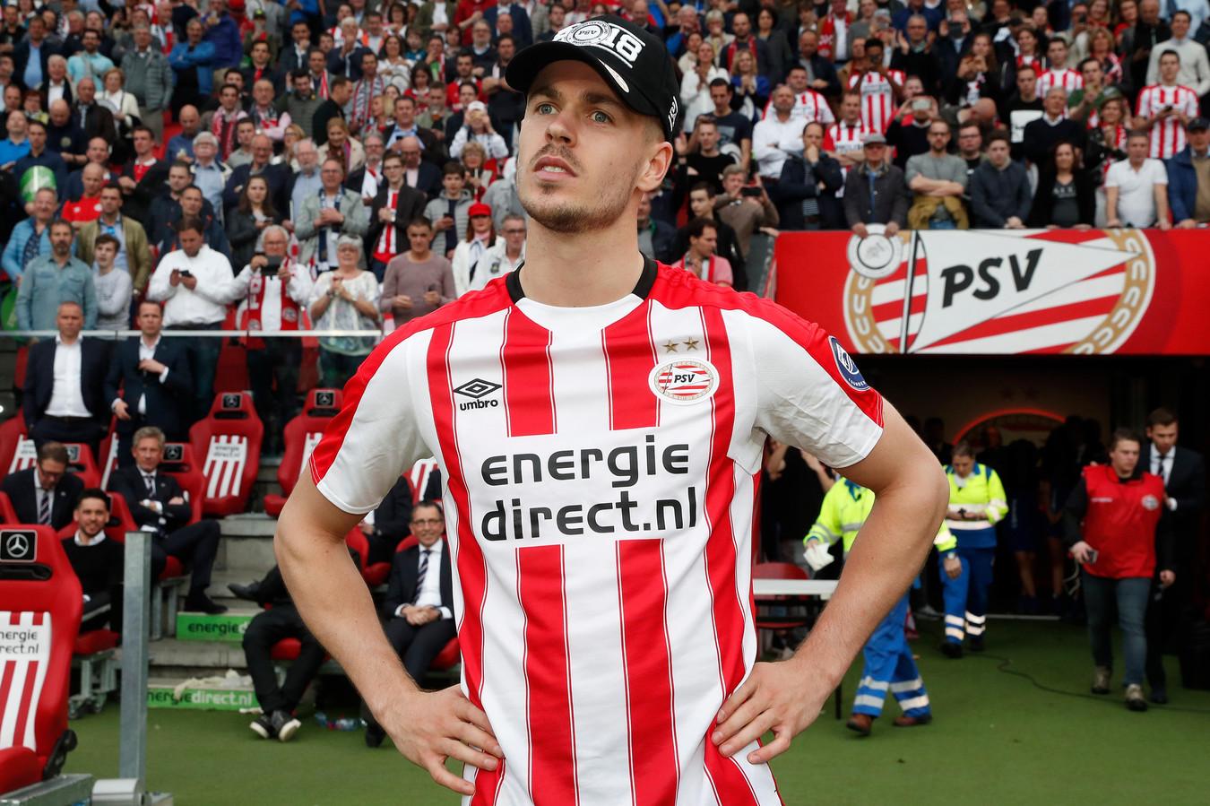 Van Ginkel in 2018 na de kampioenswedstrijd tegen Ajax.