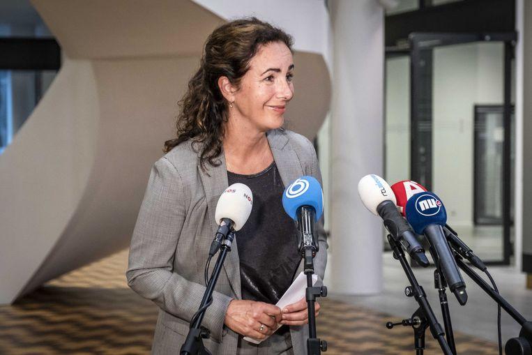 Burgemeester Femke Halsema tijdens een persconferentie op het stadhuis.  Beeld ANP