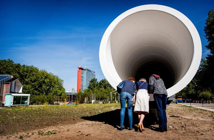 Een onderdeel van de testbaan voor de Hyperloop in Delft