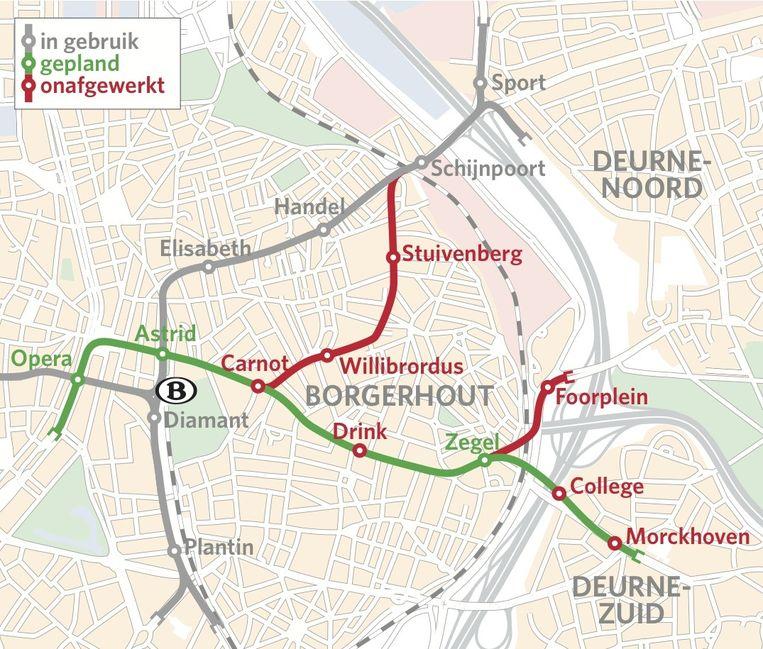 De groene lijn is de nieuwe Reuzenpijp, die 18 april klaar is. De afwerking van de ongebruikte (rode) kokers is een van de grote ambities van De Lijn voor de komende jaren.