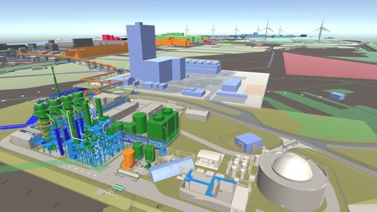 Een illustratiebeeld van de nieuwe fabrieken op de terreinen van ArcelorMittal in Gent.