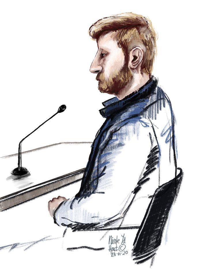 Rechtbanktekening van Leon M., die zijn beide ouders om het leven bracht.