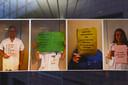 Foto's van protesterende verpleegkundigen.