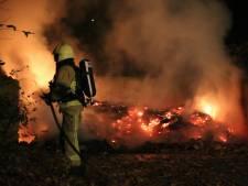 Vlammen slaan uit bak met bladafval in Oldenzaal