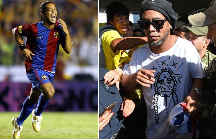 Ronaldinho in zijn gouden periode bij FC Barcelona en gisteren in Paraguay