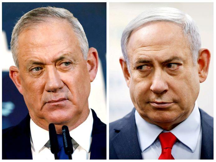 Benny Gantz (l.) en eerste minister Benjamin Netanyahu zouden het niet eens geraken over de benoeming van rechters.