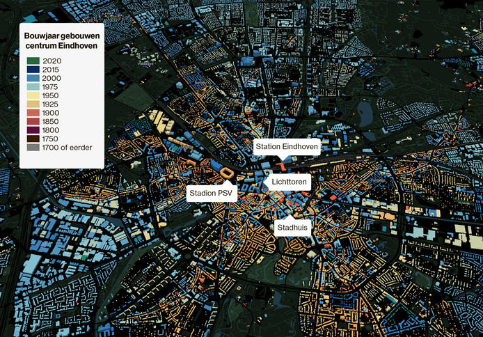 Op de website parallel.co.uk/netherlands/ (hier het centrum van Eindhoven) wordt met kleuren aangegeven hoe oud de bebouwing ongeveer is.