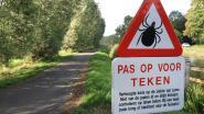 Verkeersbord waarschuwt voor teken langs jaagpaden Moervaart