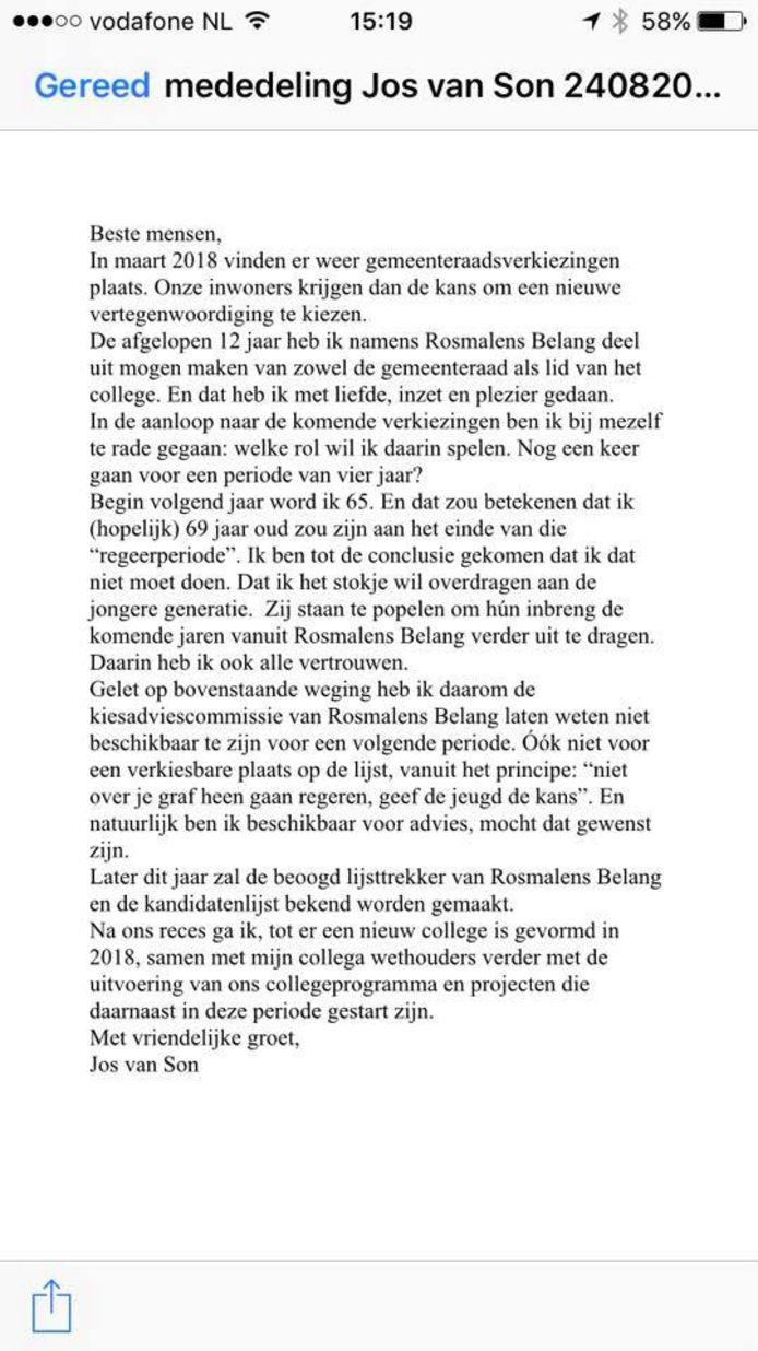 Op Facebook heeft Jos van Son een brief geplaatst met uitleg over zijn besluit.