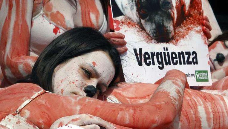 Een Spaanse activiste in Palma de Mallorca is tegen de verhoging van het quotum voor de zeehondenjacht in Canada Beeld reuters