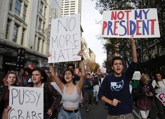 Een anti-Trump protest in Washington D.C.